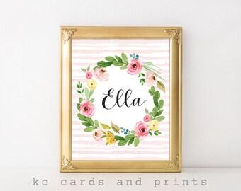 Personalized Nursery Art, Ella, Pink Flowers, Nursery Wall Art, Girl Nursery Decor, Personalized Kids Gift, Nursery Name Sign, Digital