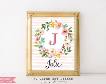 Monogram Art Nursery, Jolie, Printable, Baby Name Sign, Girl Nursery Wall Decor, Personalized Baby Gift, Digital File