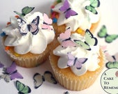 Baby shower cake topper, Edible butterflies, 48 small pink, green and purple for cake decorating, cupcake decorating, cake pop. Wafer paper