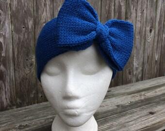 Cheerleading Bows, Knit Headband with Bow, Bow Headband, Adult Headband