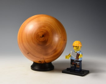 Yew wooden sphere, woodturning, gift,