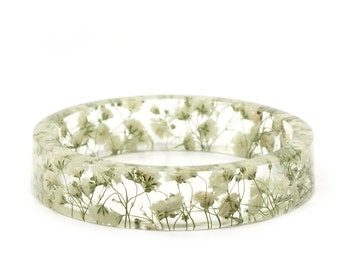 Baby's Breath Flower Jewelry- Real Flower Jewelry- Real Flower Bangle- Real Flower Resin Jewelry- Bridesmaid gift- White Flowers-