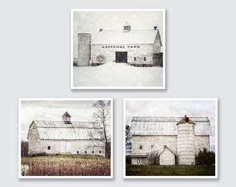 Farmhouse Decor, White Barn Art, Rustic Farm Landscapes Print or Canvas Set of 3, Country Home Decor, Rustic Wall Art, Farmhouse Art Prints.