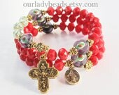 Rosary Bracelet Wrap,Red Faceted Glass Beads,Mother's Day Gift,Bridal,Bridesmaid Gift,Confirmation Gift,First Communion,Catholic Jewelry,610