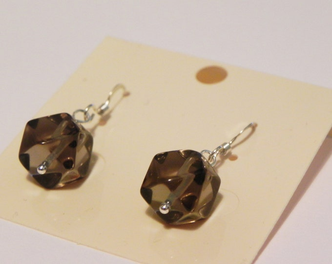Smoky quartz sterling silver gemstone drop earrings