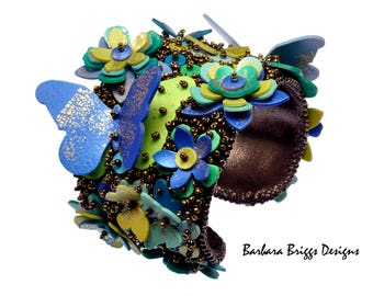 """The """"Fleurs et Papillons"""" Bead-Embroidered Cuff Kit"""