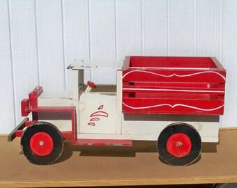 Vintage Wood Truck Farm Truck Sideboards Homemade Toy Wood Wheels