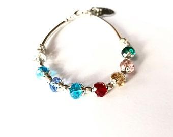 Mothers silver plated Birthstone Bracelet, Mothers charm bracelet (B101)