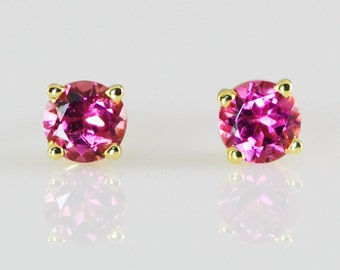 Pink Tourmaline 14K Solid Yellow Gold Stud Earrings 4mm