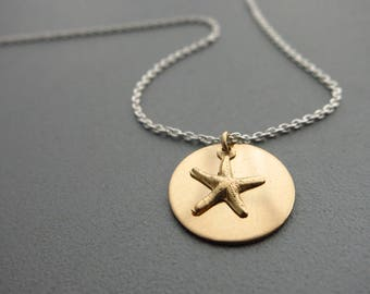 Mixed Metals Necklace  Gold Starfish Necklace