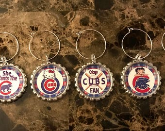 Chicago Cubs Girl inspired wine glass charms for the wine lover in your life....Set of 6