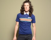 vintage 70s 80s rainbow stripe polo shirt Mazzio's Pizza 1970 1980 short sleeve white collar S/M 50-50 USA
