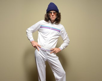 vintage 80s CalSport track suit white warm up jacket pants set 1980 M/L tennis athletic gym purple pink blue stripe Keyrolan