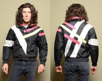 vintage 80s 90s ski jacket puffer jacket neon pink acid green 1980 1990 White Stag Ski Graphics coat winter parka women small S