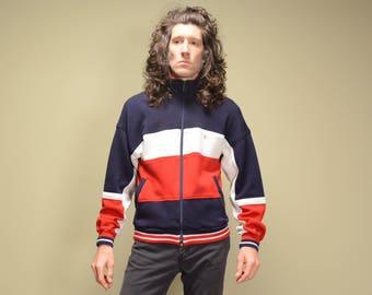 vintage 80s track jacket Pierra Cardin track suit red white blue stripe jacket medium M 1980 warm up jacket athletic menswear