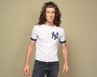 vintage Yankees baseball jersey 70s 80s henley ringer jersey NY Yankees NYY pinstripe 1970 1980 Garan medium M