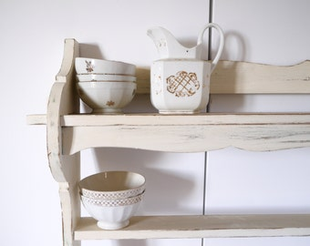 French wall shelf and plate rack oak shabby chic primative white ivory french farmhouse