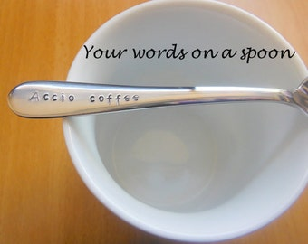 Accio Coffee,Accio Tea,Custom Hand stamped Teaspoon,Harry Potter,Magic,Spell, Doctor Who