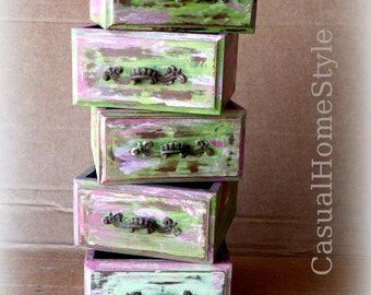 4 Rustic Wood Boxes Pink Green Brown Storage Distressed Most Popular Item Shabby Chic Cottage Decor Business Card Holder Wedding Boxes Art