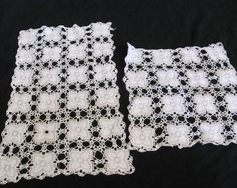 Doily Set of 2 Vintage Handmade White Crocheted Doily Table Runner (#53B)