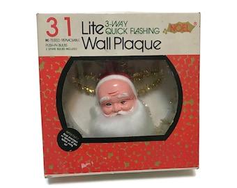 Vintage Twinkle Lights Lite Wall Plaque Santa wreath by Noel, tree topper original box working c1970