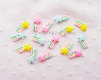 6pcs - Pastel Shooting Star Rainbow Fairy Kei Decoden Cabochon (23x12mm) STR011