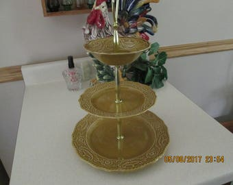Vintage Regency Canonsburg 3 Tired Server, Ironstone Pottery, Kitchen Decor, Made in USA,