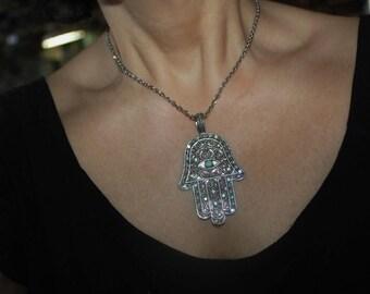 Hamsa charm necklace, Silver necklace, Judaica jewelry, hamsa charm, hamsa necklace, evil eye charm necklace