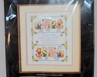 Grandchildren Add Love to Everyday Crewel Embroidery Kit Dimensions New 1988