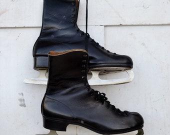 Vintage Men's CCM Black Ice Skates Size 12 Christmas Winter Door Porch Decoration Craft Repurpose Upcycle