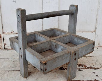 Vintage Wooden Tote Divided Box Handled Weathered Gray Caddy with Legs Rustic Primitive Farmhouse Handmade Horse Farrier Nail Tray