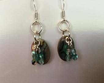 Turquoise Glisten Abalone shell earrings
