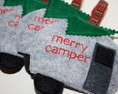 Camper Life 'Merry Camper' Christmas Ornament - Airstream Christmas - Happy Camper - Avion Life - Gray Camper Ornament
