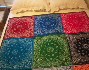 Colorful Bandanna Throw Quilt