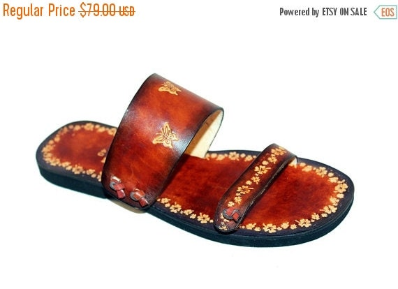 10% off Unique Style Jolly Flowers And Butterflies Handmade Leather Sandals - Paradise