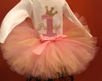 Pink and gold tutu 3 pc birthday outfit, 1st birthday tutu, baby girl 1st birthday outfit, pink and gold tutu, pink and gold birthday outfit