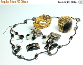 WINTER SALE Destash Craft Lot of Vintage Salvaged Black Rhinestone  and Glass Jewelry Parts and Pieces
