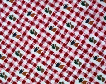 Vintage 1970s fabric in highquality unused cotton with tiny small figures in red checkered pattern on very light beige bottomcolor