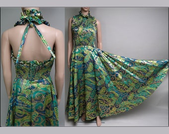 Vintage 1960s Dress//60s Halter Dress//Designer//Blue//Green//Metallic Gold//Flowing//Party Dress//Gown//Evening Gown