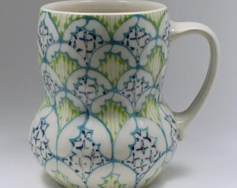 Handmade Wheel Thrown Ceramic Mug with Turquoise, Kiwi and Navy Pattern
