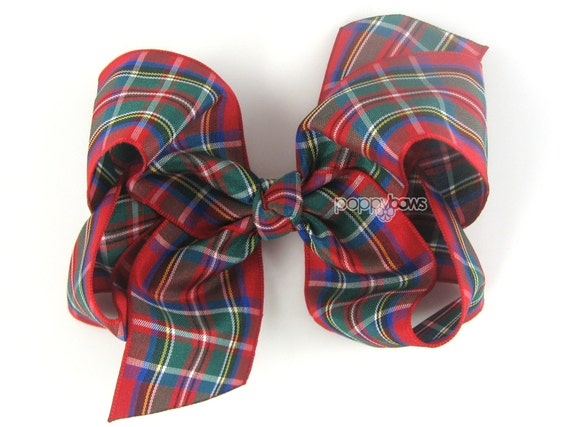 """Red Plaid Hair Bow 4"""" - Tartan Classic Boutique Hairbow 4 Inch - Baby Toddler Girl Christmas Back to School Royal Stewart"""