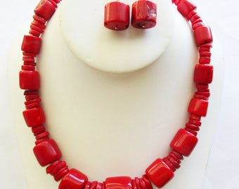 Jay King Desert Rose Trading Red Coral Necklace and Pierced Earrings 925 Sterling Silver DRT. free US shipping - fl/ct
