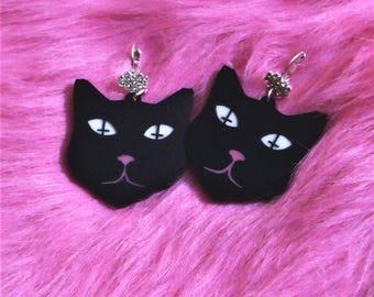 Black Satanic Kitten Acrylic Earrings with Wrap Around Thinestone Earring Hooks / Wire