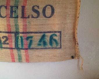 extra large burlap bag for decor | used coffee burlap bag cottage | farmhouse kitchen decor | country kitchen wall decor | burlap cafe decor