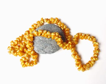 Vintage Trochus Shell Lei Necklace Buttery Golden Yellow-Dyed Iridescent Shimmering Natural Small Sea Shells Opalescent Nacre Exotic Jewelry