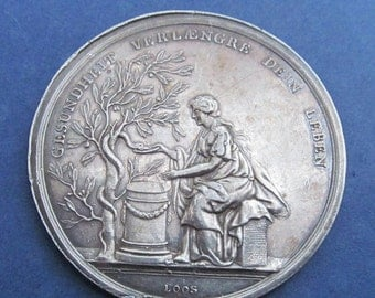 On Sale Antique German Health And Joy Silver Art Medal Signed Loos Circa 1800  SS460