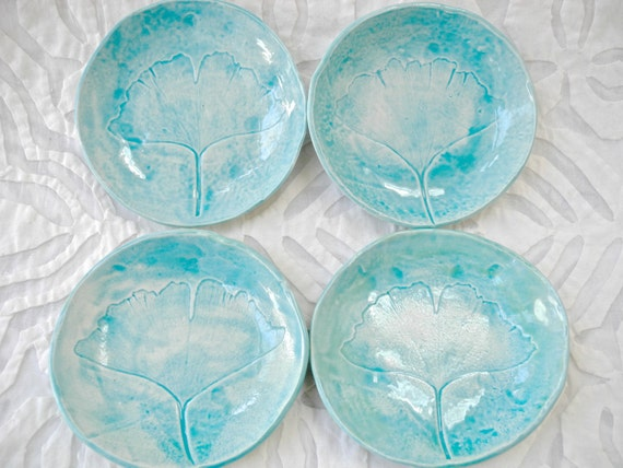 Four Ginkgo Leaf Bowls, Turquoise dishes, Ceramic Bowl set, Tapas dish set, Ring Dish, small bowls, Ring bowl, Prep Bowl, spoon rest