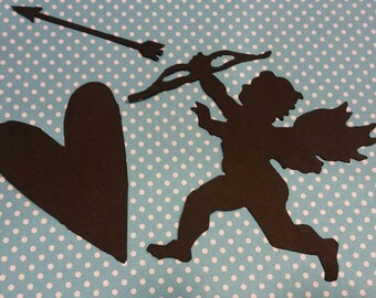Cupid and Heart Die Cut 10 Sets- Die Cut- Cutout- Custom Colors Available