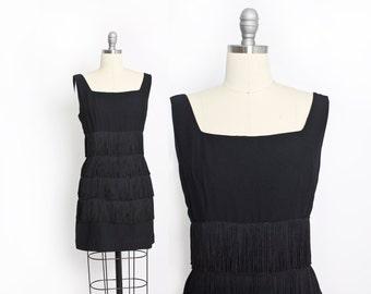 Vintage 60s Dress - Black Crepe FRINGE Flapper Cocktail Mini Dress 1960s - Large L