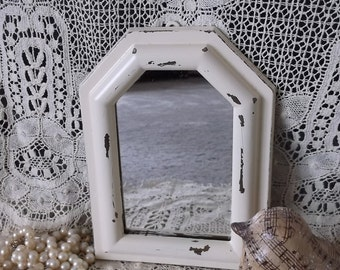 Small Octangle, Shabby and chic, creamy White, French Cottage Mirror